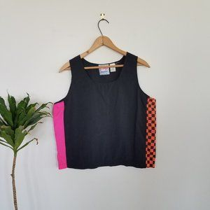 Vintage Gitano 80's car culture checkered tank top